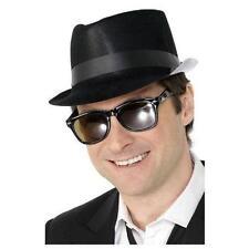 Black Flocked Plastic Fedora Costume Hat