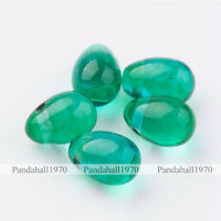 20 Pcs SeaGreen Transparent Drop Glass Beads Crafts For DIY Jewelry Making 7x5mm