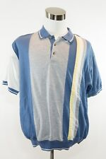 Men's VINTAGE Gallop Polyester Blue Collared Shirt Made in Macau C26488