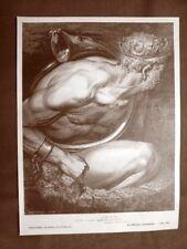 Incisione Gustave Dorè del 1890 Dante Giganti Nembrotto Divina Commedia Inferno