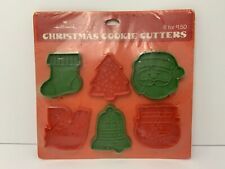 Vintage Plastic Christmas Cookie Cutters Santa Bell Dove Stocking 6-Pc.Hallmark
