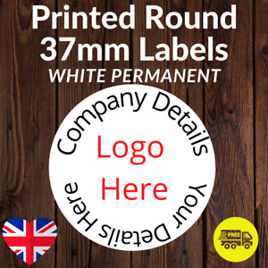Personalised 37mm Stickers Business/Company Name Round Circle Labels Matt