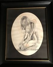 Roberto Lupetti Framed Print Nude Kneeling Girl 8x10 Vintage Pin Up Art Signed