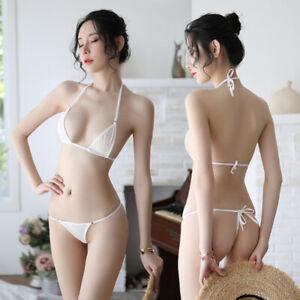 Sexy Women Micro G-String Underwear Bikini Set Bra Top Thong Lingerie Swimw.BI