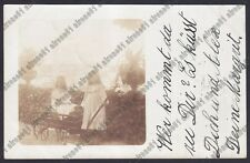 BRESCIA PALAZZOLO SULL'OGLIO sullo sfondo - FOTO PRIVATA viagg. 1903 REAL PHOTO