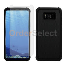 Hybrid Rubber Case+LCD Screen Protector for Android Samsung Galaxy S8 Plus Black