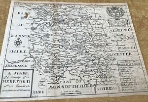 ANTIQUE MAPP OF THE COUNTRY OF HEREFORD WITH ITS HUNDREDS 1673 RICHARD BLOME