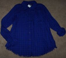 NWT Westbound Woman FUNKY FRINGE Purple/Black WINDOWPANE Plaid Blouse Tunic 2X