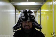 Rabbit Full Fur Russian Hat Ushanka, Real Fur Black - White Hat