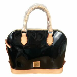 Dooney & Bourke Zip Zip Satchel Black Onyx Patent Leather PV343 NEW $228