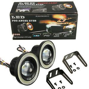 "A1 2x 3.5"" Universal Halo Angel Eyes LED Fog Light Projector White Waterproof"