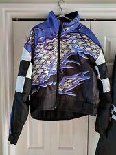 Vtg Joe Rocket Snowmobile Jacket Black White Purple Men's Large Zips to Pants