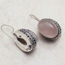 "Rose Quartz  Handmade Drop Dangle Antique Design Earrings 1.4"" AE 9387"