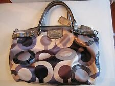 COACH GALLERY FABRIC LOGO BAG - LEATHER HANDLES - BLUE, WHITE, BROWN & DUSTBAG