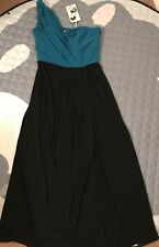 Oasis Maxi Turquoise & Black One Shoulder Long Dress UK 12/38 Wedding Prom Party