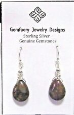 RARE Wire-Wrapped Sterling Silver LAGUNA AGATE Dangle Earrings...Handmade USA