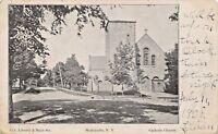 MONTICELLO NEW YORK-CATHOLIC CHURCH-LIBERTY & MAIN STS POSTCARD 1908 PMK