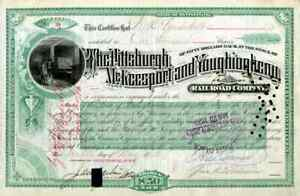 1885 Pittsburgh McKeesport & Youghiogheny RR Stock issued to W K Vanderbilt