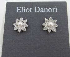 Eliot Danori by Nadri Silver Tone Faux Pearl Pave Floral Stud Earrings NEW