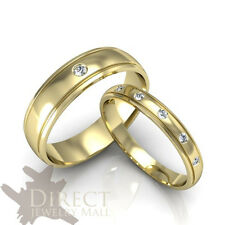 9ct Real Yellow GOLD GENUINE DIAMOND His/Her Lover Matching Wedding Band Ring