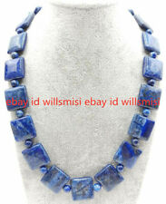Gemstone Square Beads Necklace 18'' New 12mm&6mm Natural Blue Lapis Lazuli
