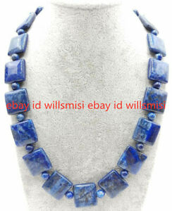 New 12mm&6mm Natural Blue Lapis Lazuli Gemstone Square Beads Necklace 18''