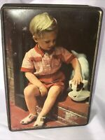 Vintage Dog Tin Edward Sharp and Sons England Toffee Tin A Boy & His Dog