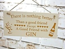 New Shabby Chic Wooden Wall Hanging Gin Plaque Friend Christmas Birthday Gift