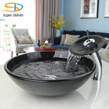 Purple Star Bathroom Round Vessel Sink Basin Tempered Glass with Faucet