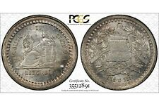 GUATEMALA , 1/2 REAL 1880/770 E MEDIO REAL - PCGS MS 65 TOP POP , RARE