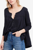 Free People Womens Kai OB718244 Top Relaxed Black Size XS