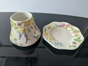 Yankee Candle - Multicoloured Floral - S/M Shade + Plate Set - Brand New Unused