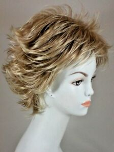 Wispy Strawberry Blonde tipped w/ Pale Blonde Short Straight wig w/ Flips