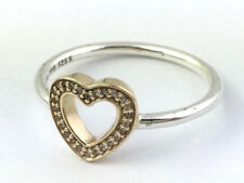 Authentic Pandora Symbol Of Love Silver & 14K Ring 190925CZ-54 Sz 6.5 New