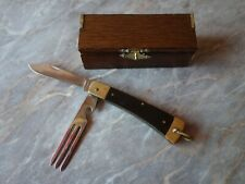 VTG OLD MARKED CAMPING TRAVEL FOLDING POCKET KNIFE BOTTLE OPENER & FORK WITH BOX