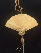Vintage Asian Fan Articulated Necklace Gold Tone N&S Wave