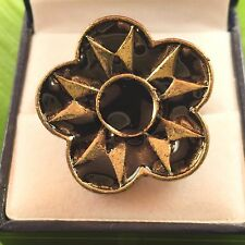 gorgeous antique style BLACK flower enamel CZ adjustable ring
