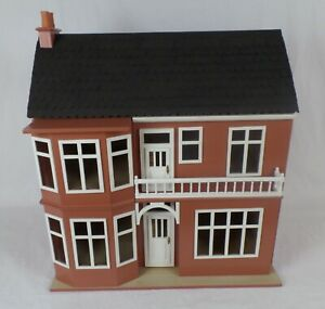 Large Wooden Dolls house possibly hand made, Terraced house, bay windows, 24""