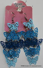 Beautiful Dangle Earrings Unique Light Blue Butterflies  Fun Wacky Bright