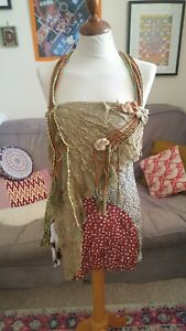BNWT SAVE THE QUEEN Boho Patchwork 3D Flowers Multi Rope Straps Cami Vest L