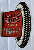 """VINTAGE FLANGED FALLS TIRES 30"""" DOUBLE SIDED EVERGREEN TUBES PORCELAIN SIGN OIL"""