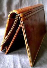 Vintage Italy Lizard Leather Amber Bakelite Purse Shoulder Bag Clutch Chain
