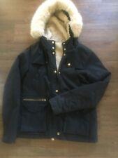 Topshop Azul Marino Cálido Abrigo con Capucha Talla 12