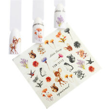 Nail Art Water Decals Stickers Transfers Winter Squirrel Flowers Bambi Fall 3112