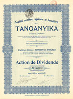 Societe Miniere et Forestiere du Tanganyika SA, accion de dividendos, 1925