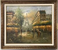Paris Winter Fall oil painting framed