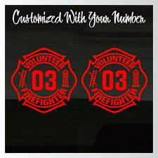 "Volunteer Fire Fighter Fireman YOUR Number Set of 2 RED Decal Stickers 6.5"" Tall"