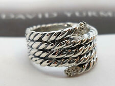 David Yurman Sterling Silver Willow Serpent Pave Diamond Ring size 6