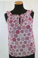 MASSIMO DUTTI Silk Top Boho Purple White Red Flowers Blouse Sz XS S romantic EUC