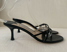 Jimmy Choo Black Leather Thong Mules Size 41.5 USED Gently Worn